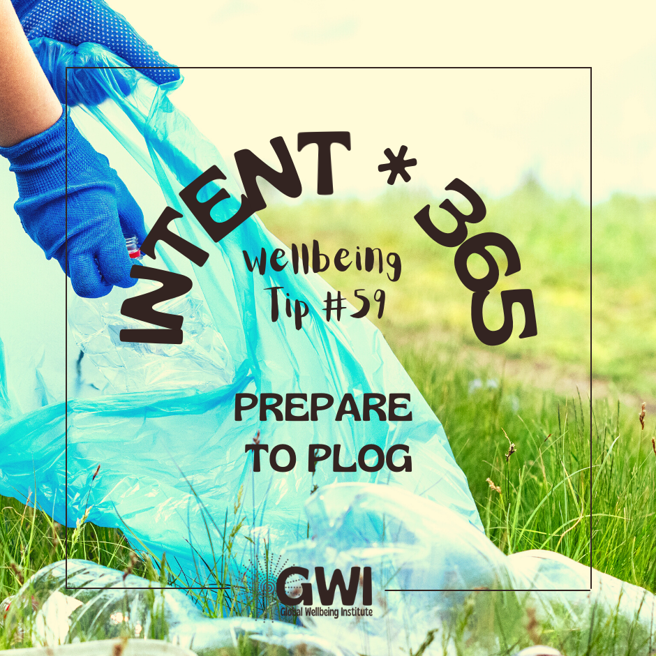prepare to plog for environmental exercise (gloved hands putting plastic bottle into blue bag)