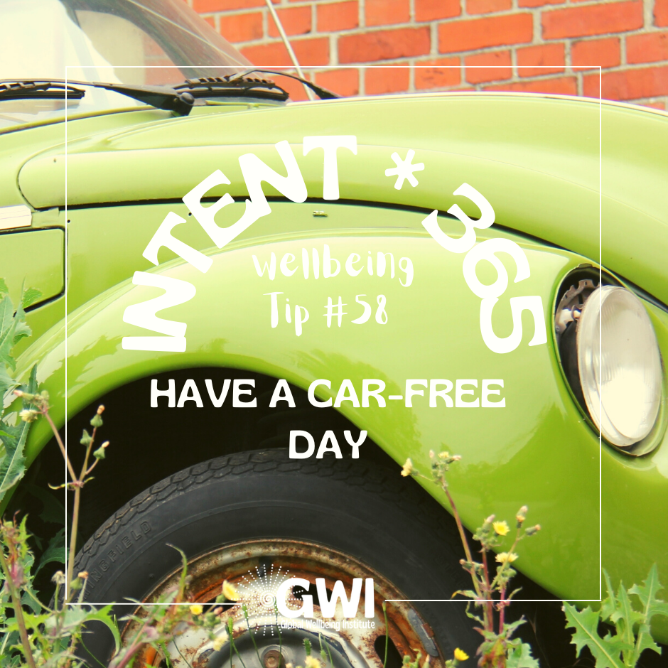 have a car-free day for environmental exercise (green rusted VW bug with weeds)