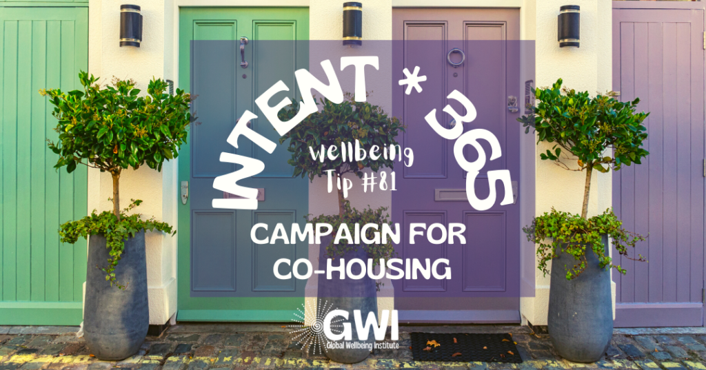 wellbeing tip 81: campaign for co-housing (front of duplex with green and purple doors)