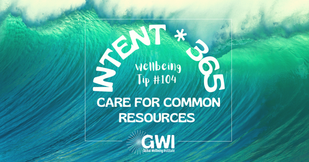 wellbeing tip 104: care for commons resources (ocean wave)