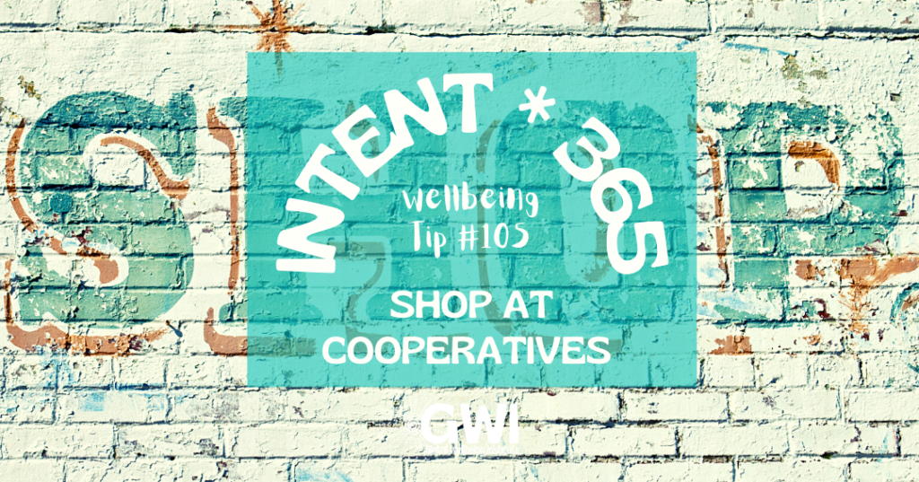 wellbeing tip 105: shop at cooperatives (retro shop painted on brick wall)