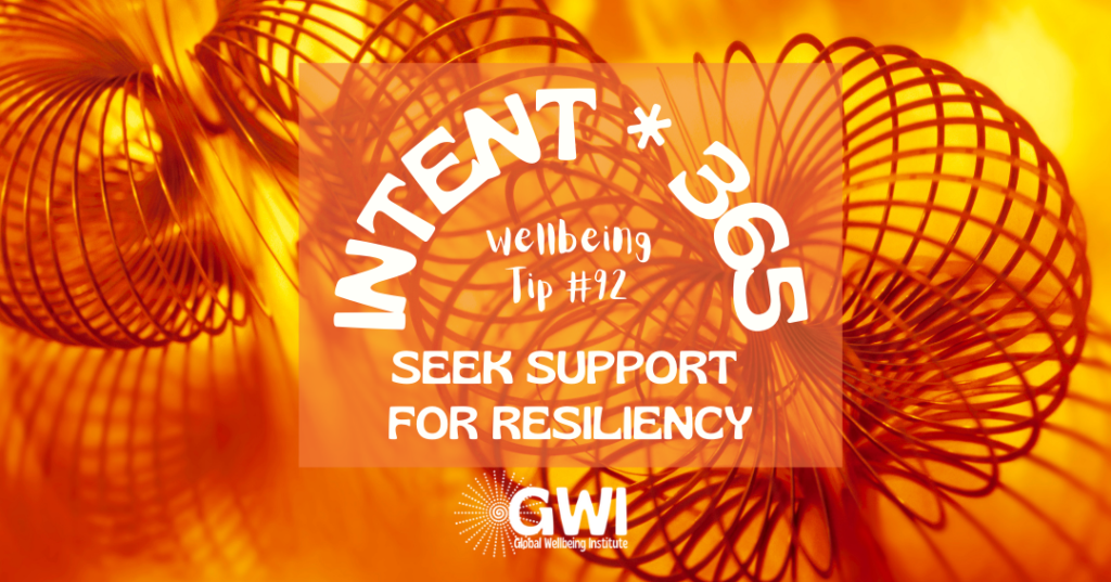 wellbeing tip 92: seek social support for resiliency (slinky on orange background)
