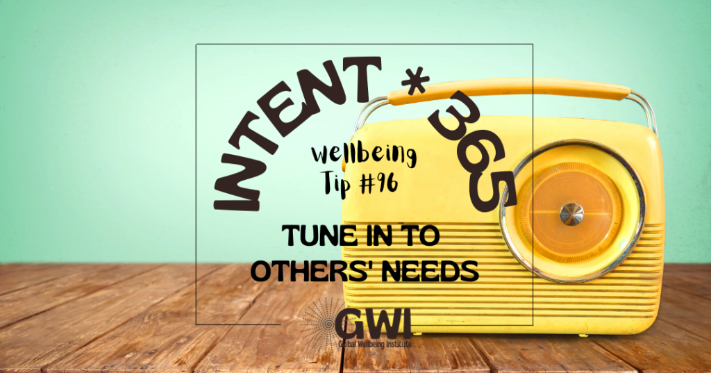 wellbeing tip 96: tune in to others' needs (yellow retro radio)